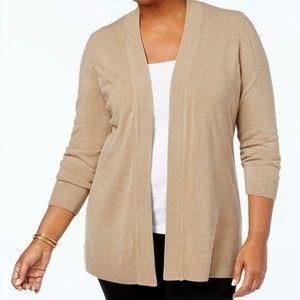 Karen Scott Cardigan Sweater Beige Brown 3X